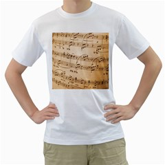 Music Notes Background Men s T-Shirt (White) (Two Sided)