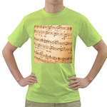 Music Notes Background Green T-Shirt Front