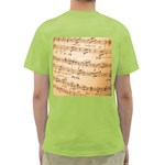Music Notes Background Green T-Shirt Back