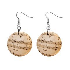 Music Notes Background Mini Button Earrings