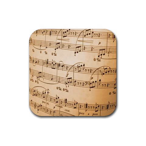 Music Notes Background Rubber Coaster (Square)