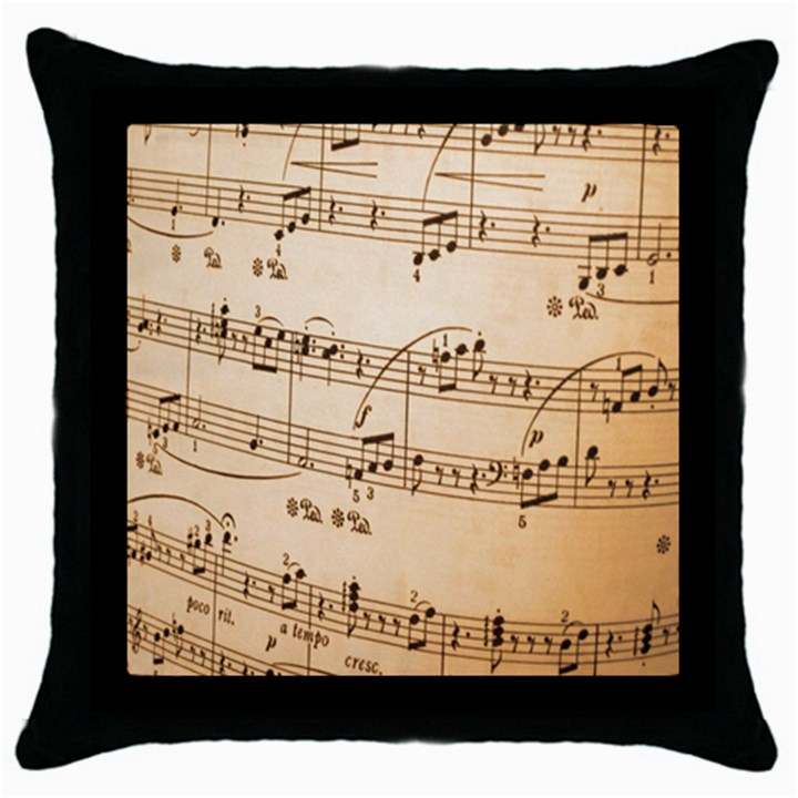 Music Notes Background Throw Pillow Case (Black)