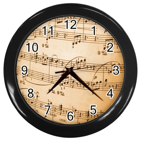 Music Notes Background Wall Clocks (Black)