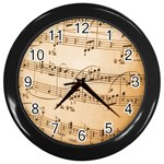 Music Notes Background Wall Clocks (Black) Front