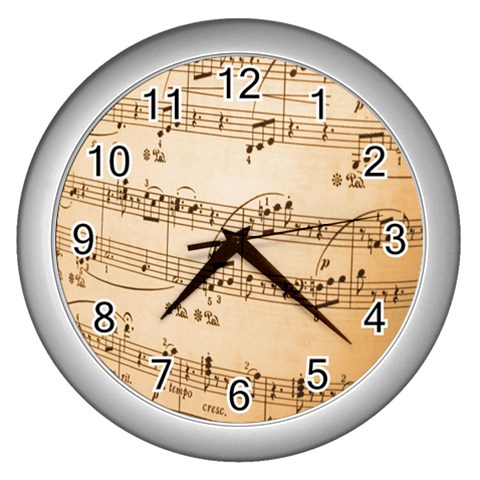 Music Notes Background Wall Clocks (Silver)
