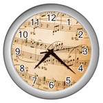 Music Notes Background Wall Clocks (Silver)  Front