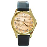 Music Notes Background Round Gold Metal Watch Front