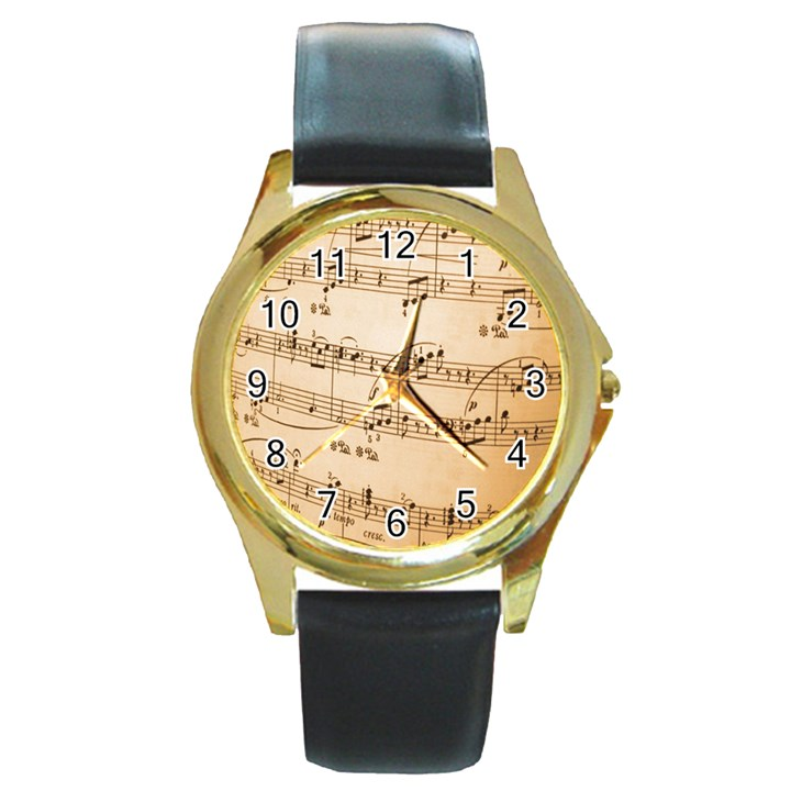 Music Notes Background Round Gold Metal Watch