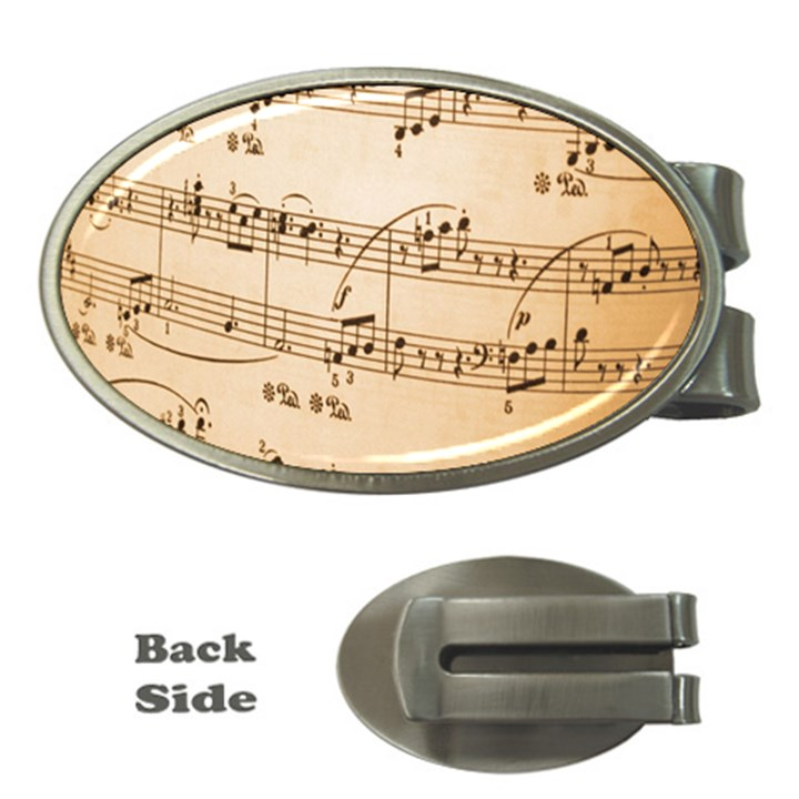 Music Notes Background Money Clips (Oval)