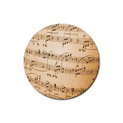 Music Notes Background Rubber Coaster (Round)