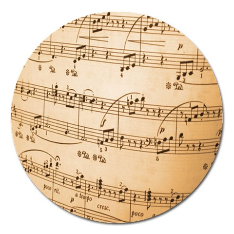 Music Notes Background Magnet 5  (Round)