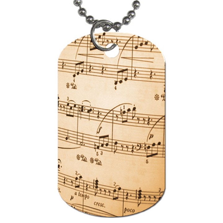 Music Notes Background Dog Tag (One Side)