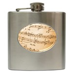 Music Notes Background Hip Flask (6 oz) Front