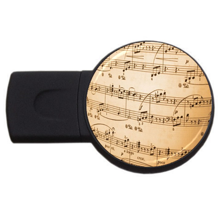 Music Notes Background USB Flash Drive Round (1 GB)
