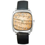 Music Notes Background Square Metal Watch Front