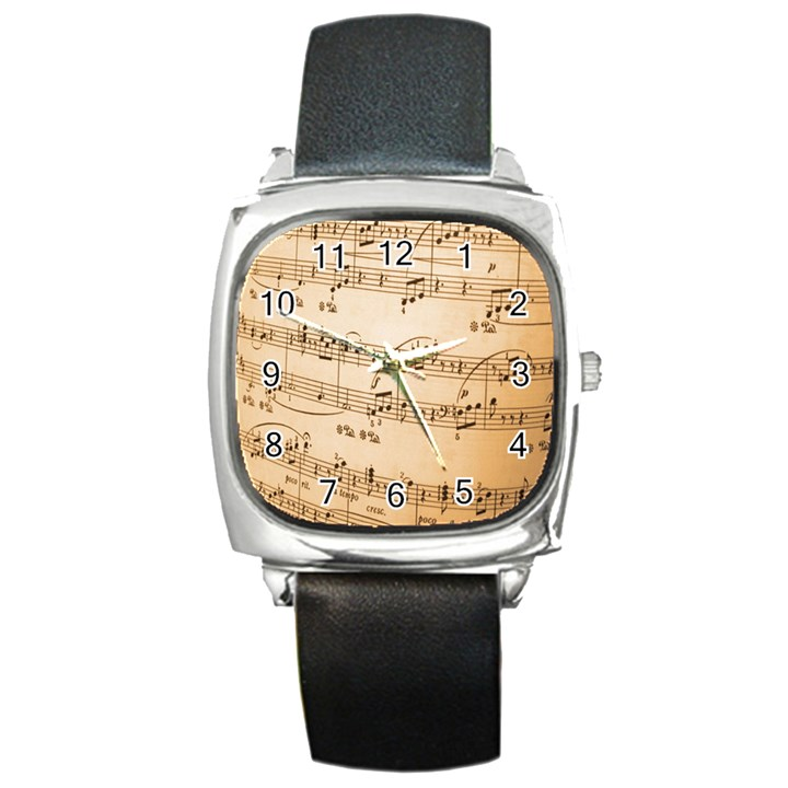 Music Notes Background Square Metal Watch