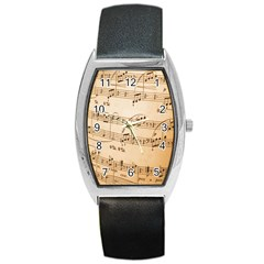 Music Notes Background Barrel Style Metal Watch