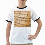 Music Notes Background Ringer T-Shirts Front