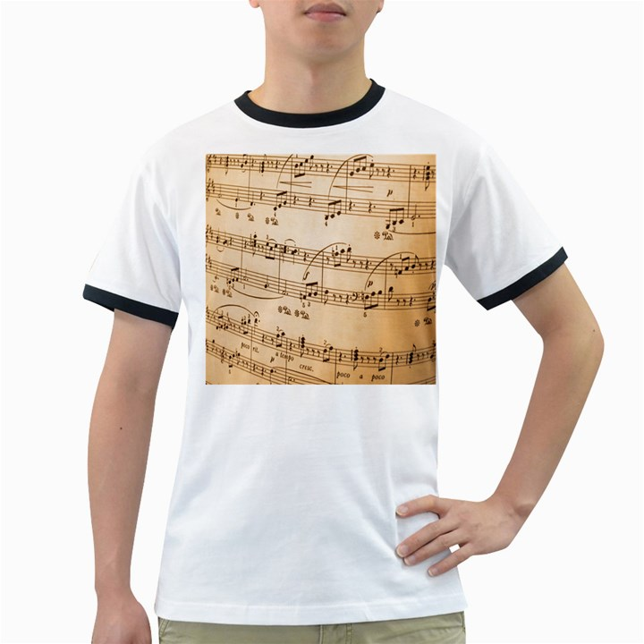 Music Notes Background Ringer T-Shirts