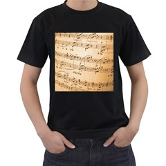Music Notes Background Men s T-Shirt (Black) (Two Sided)