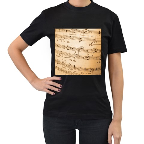 Music Notes Background Women s T-Shirt (Black) (Two Sided)