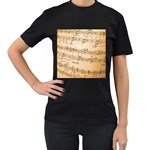 Music Notes Background Women s T-Shirt (Black) (Two Sided) Front