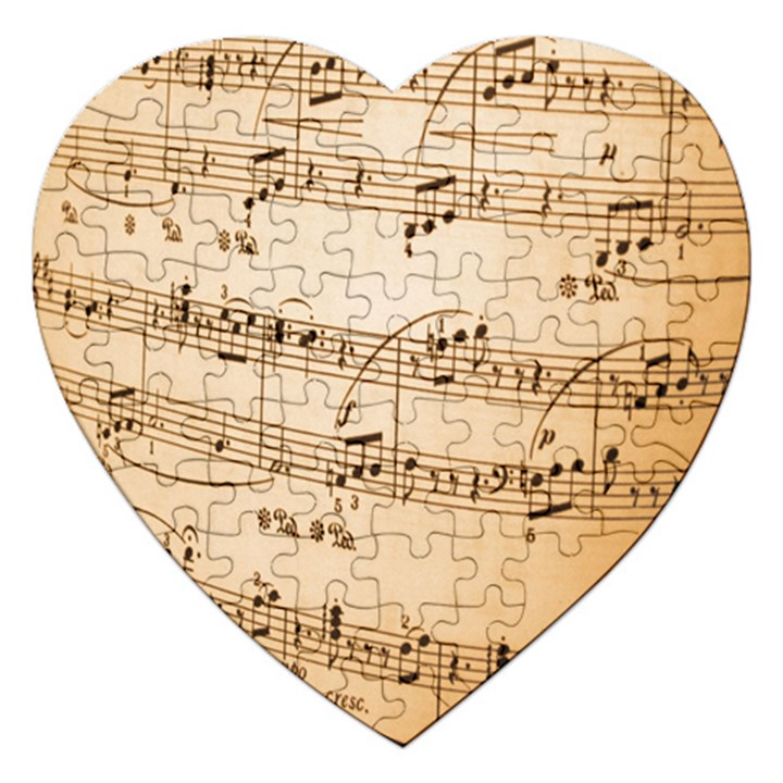 Music Notes Background Jigsaw Puzzle (Heart)