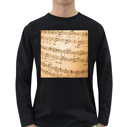 Music Notes Background Long Sleeve Dark T-Shirts