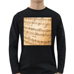 Music Notes Background Long Sleeve Dark T-Shirts Front
