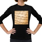 Music Notes Background Women s Long Sleeve Dark T-Shirts Front