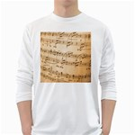 Music Notes Background White Long Sleeve T-Shirts Front