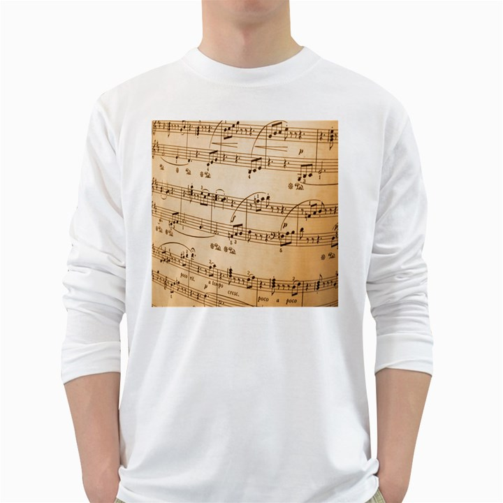 Music Notes Background White Long Sleeve T-Shirts