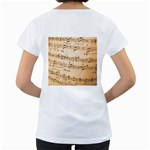 Music Notes Background Women s Loose-Fit T-Shirt (White) Back