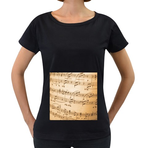 Music Notes Background Women s Loose-Fit T-Shirt (Black)