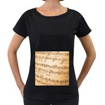 Music Notes Background Women s Loose-Fit T-Shirt (Black) Front