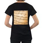 Music Notes Background Women s Loose-Fit T-Shirt (Black) Back