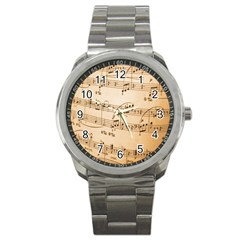 Music Notes Background Sport Metal Watch
