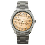 Music Notes Background Sport Metal Watch Front