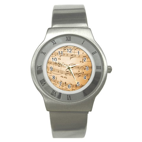 Music Notes Background Stainless Steel Watch