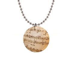 Music Notes Background Button Necklaces