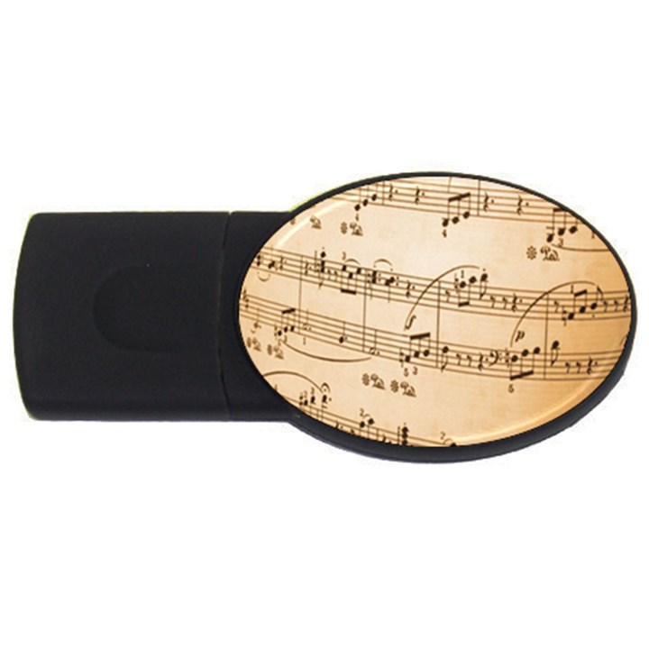 Music Notes Background USB Flash Drive Oval (4 GB)