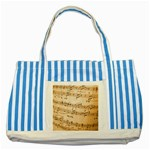 Music Notes Background Striped Blue Tote Bag Front
