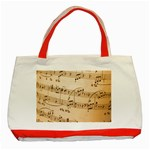 Music Notes Background Classic Tote Bag (Red) Front