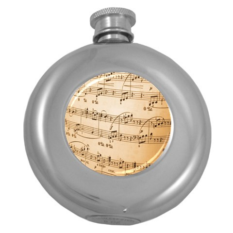 Music Notes Background Round Hip Flask (5 oz)