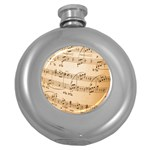 Music Notes Background Round Hip Flask (5 oz) Front