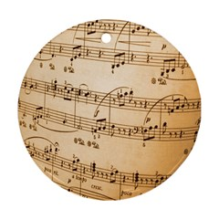 Music Notes Background Round Ornament (Two Sides)