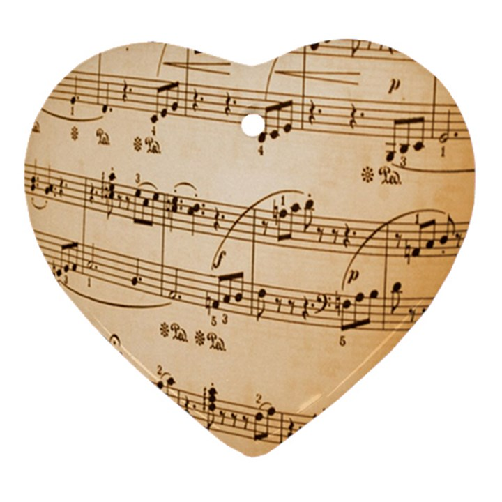 Music Notes Background Heart Ornament (2 Sides)