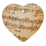 Music Notes Background Heart Ornament (2 Sides) Back