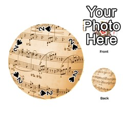 Music Notes Background Playing Cards 54 (Round)