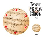 Music Notes Background Playing Cards 54 (Round)  Front - Heart3